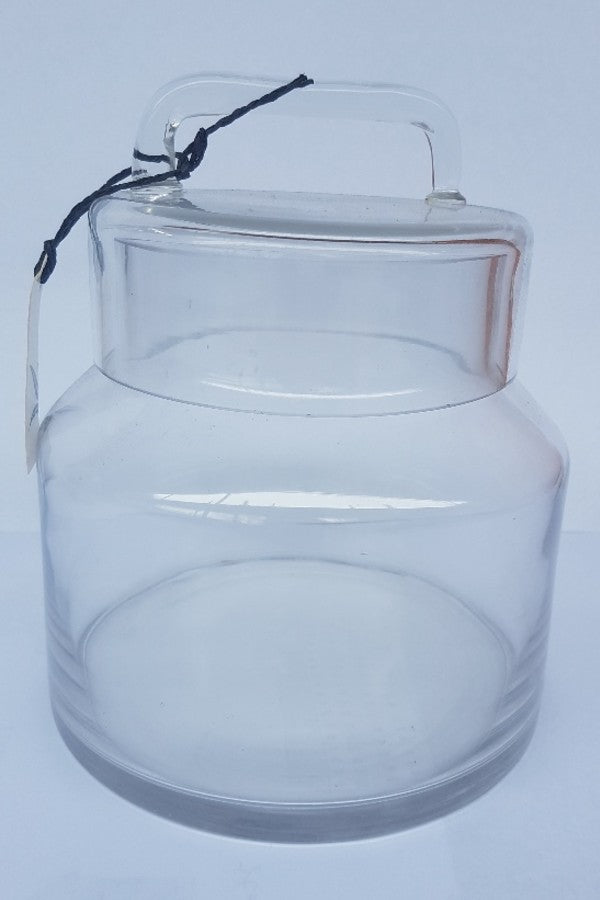 Glass jar with straight glass handle on lid - Small