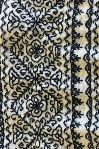 French Moroccan style Embroidered Throw  100% wool
