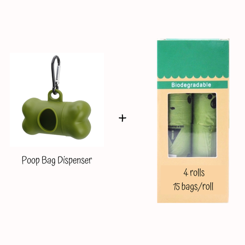 Poop Bag Dispenser + Poop Bags Refill