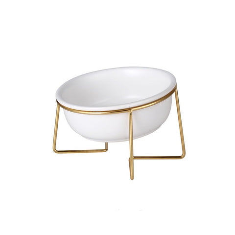Basic Pet Feeding Bowl with Gold Stand
