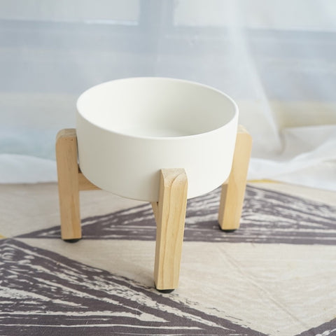 Ceramic Bowl with Wooden Stand