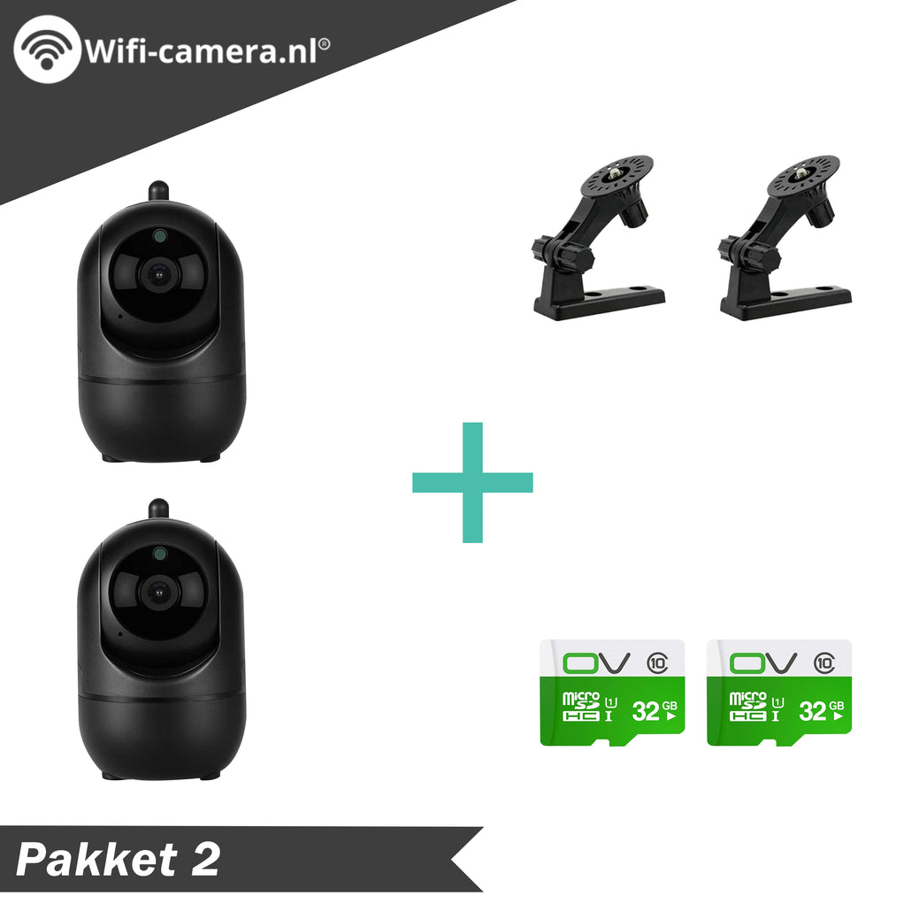 2 Indoor Wifi Camera® + 2 Muurbeugels + 2 32GB SD Kaarten