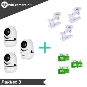 3 Indoor Wifi Camera® + 3 Muurbeugels + 3 32GB SD Kaarten