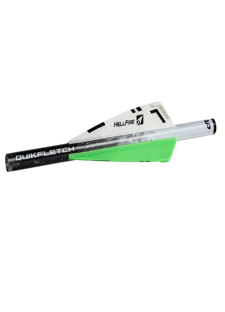 NAP Quikfletch 3in Hellfire Std - 6 Pack White-Green-Green