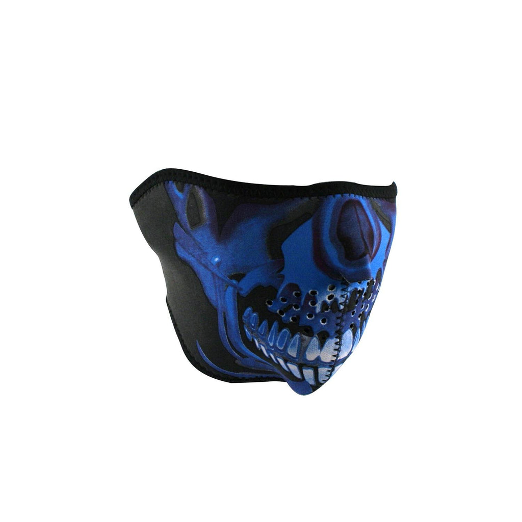 ZANheadgear Neoprene Half Mask  Blue Chrome Skull