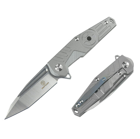 Defcon Radioactive Folder 3.25 in Blade Gray Titanium Hndl