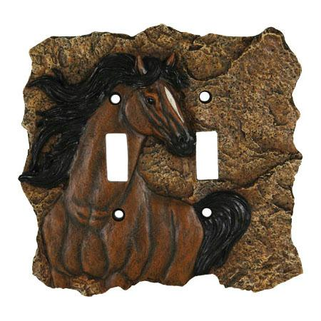 Rivers Edge New Horse Double Switch Plate Cover