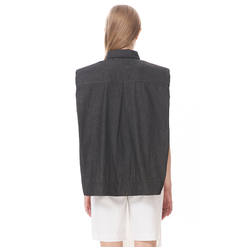 Sleeveless Padded Shoulder Shirt