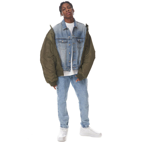 Contrast Denim Bomber Jacket