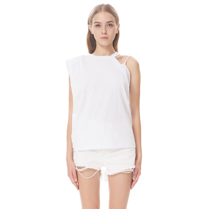 Asymmetric Shoulder Padded Top