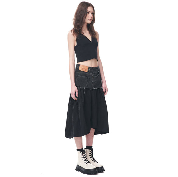 Twisted Denim and Nylon Skirt