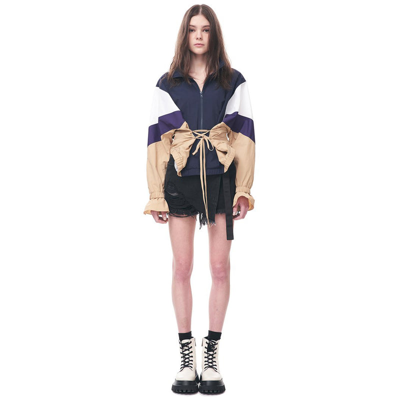 Colour-Block Windbreaker Jacket with Corset Detail