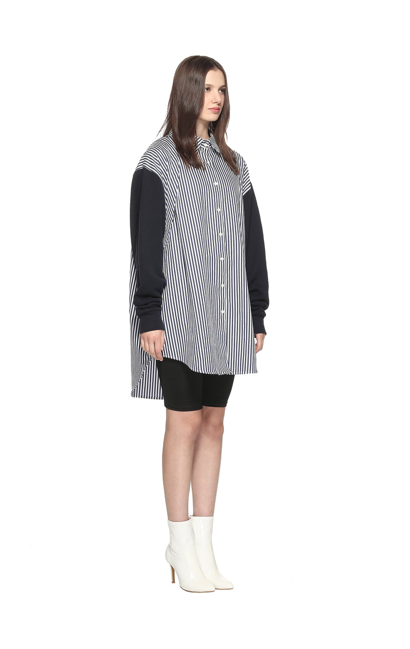 Striped Patch Open Shoulder Shirt