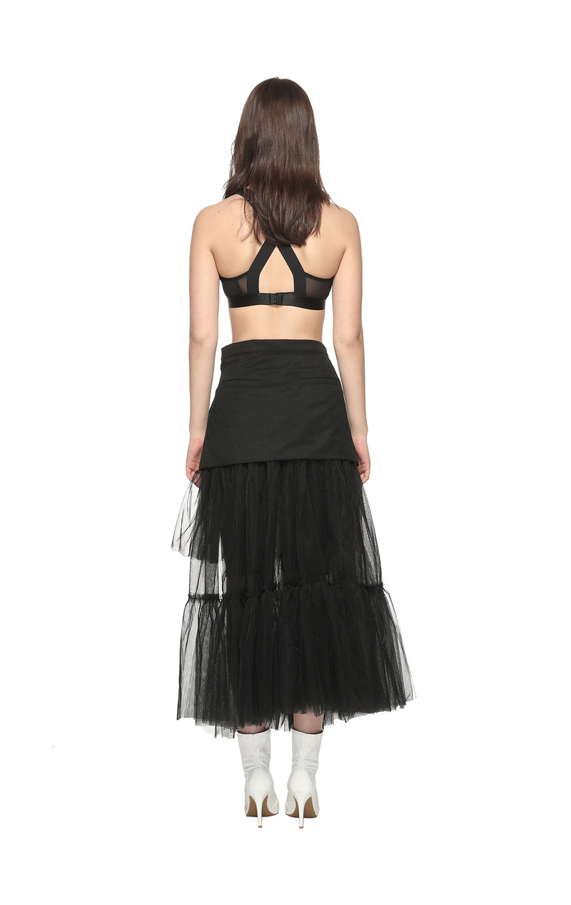Mesh Patch Pleat Skirt