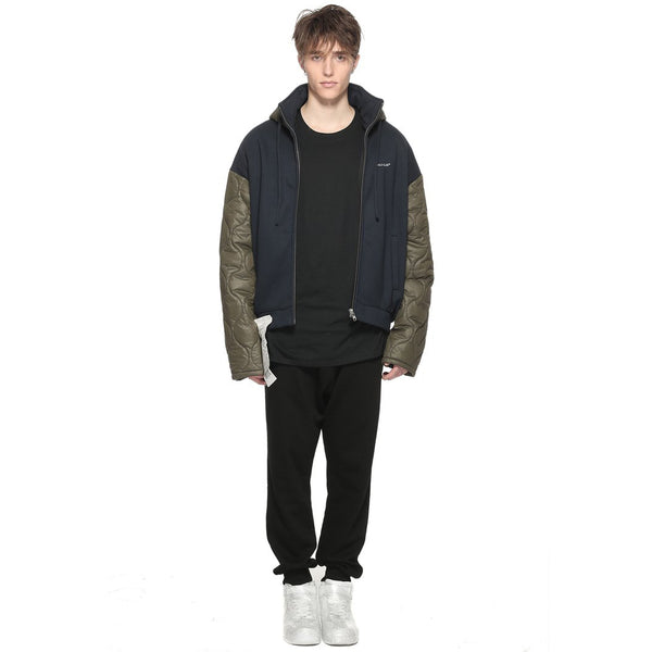 Contrasted Quilted Zip Up Hoodie