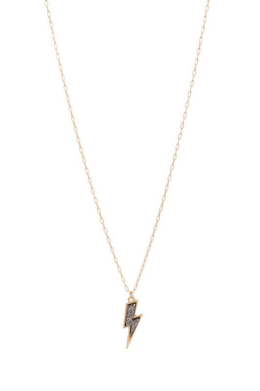 Lightning Bolt Druzy Necklace