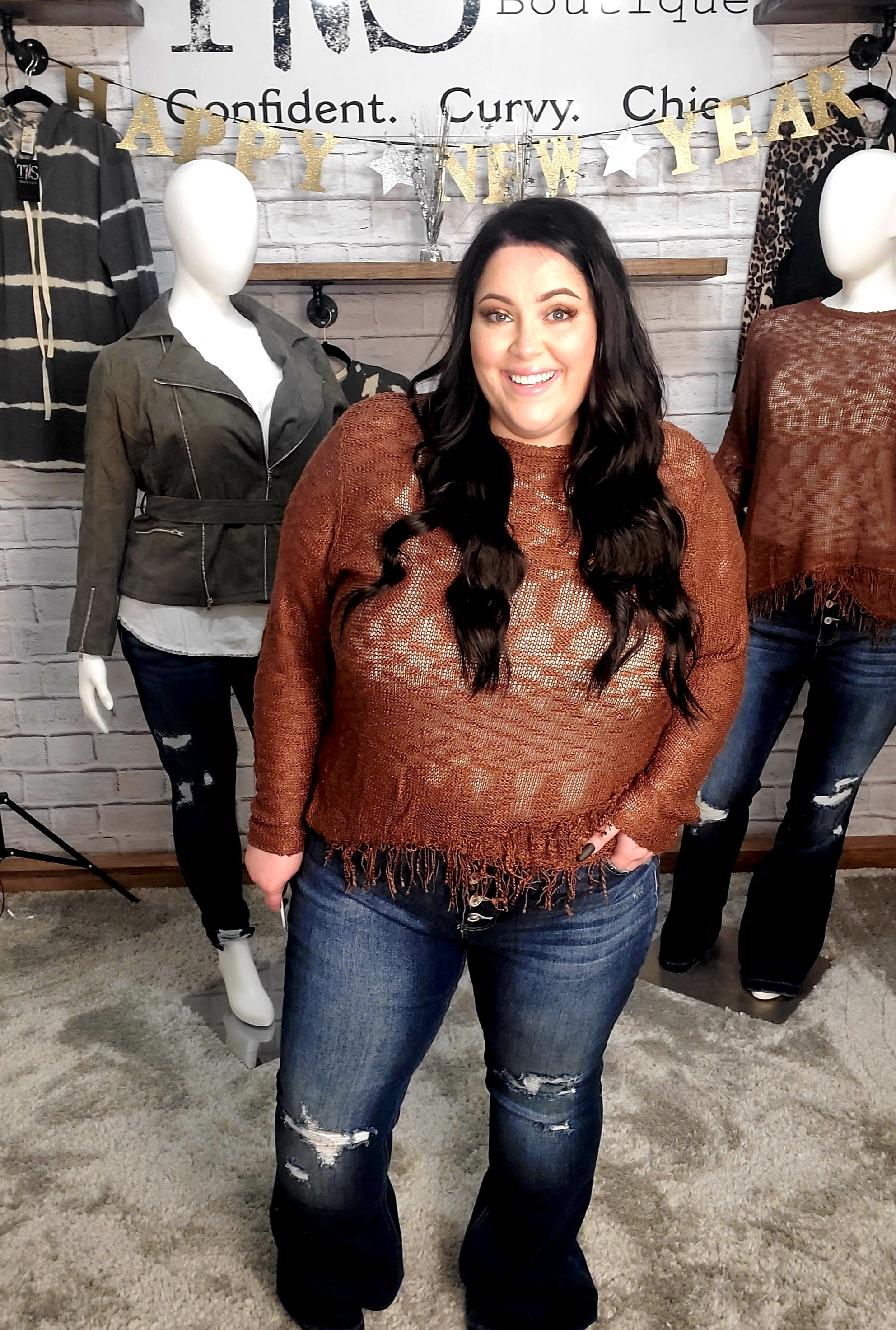 Pecan Frayed Knit Sweater