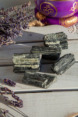 Black Tourmaline Roughs with Mica Large | Crystal Karma by Trina