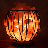 Himalayan Salt Fire Cage Wooden Base - Crystal Karma By Trina