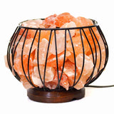 Himalayan Salt Fire Cage Wooden Base- 3.5kg Amore | Crystal Karma by Trina