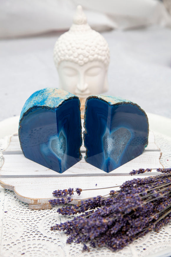 Agate Bookends - Blue & White Set of 2