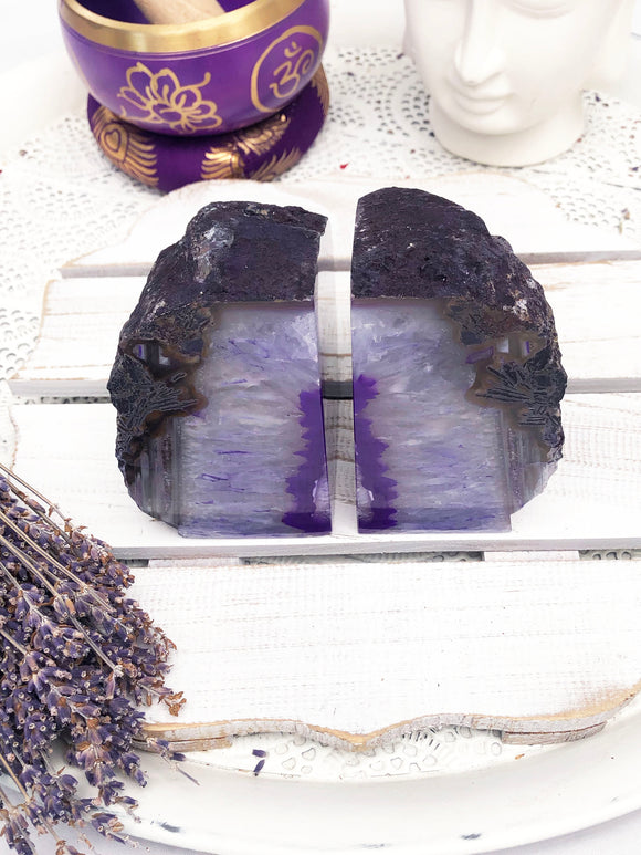 Agate Bookends White Purple | Crystal Karma by Trina