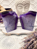 Agate Bookends - Purple & White Set of 2 - Crystal Karma By Trina