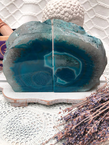 Agate Bookends - Teal (Blue/Green)  Set of 2 #7 | Crystal Karma by Trina