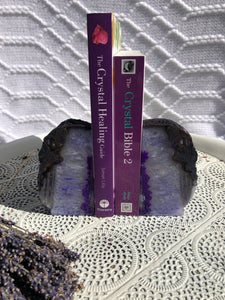 Agate Bookends - White & Purple Set of 2
