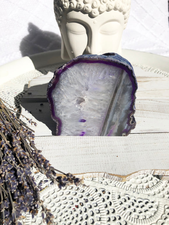 Agate Standing Candle Holder - Purple & White Stripe | Crystal Karma by Trina