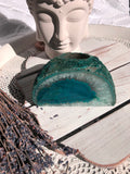 Agate Standing Candle Holder - Teal (Green/Blue)