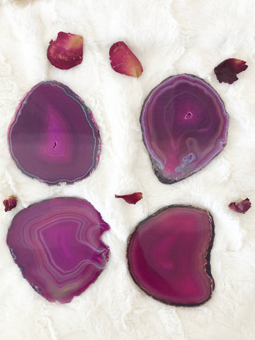 Agate Coaster Set of 4 - Pink Large