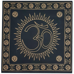Altar Cloth - Om Symbol Black & Gold | Crystal Karma by Trina