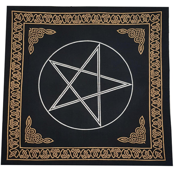 Altar Cloth - Pentacle Black & Gold | Crystal Karma by Trina