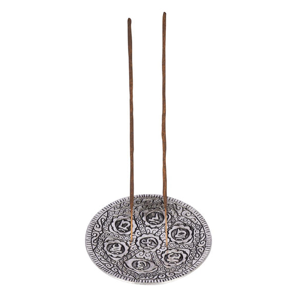 Aluminium Incense Holder Chakra Round | Crystal Karma By Trina
