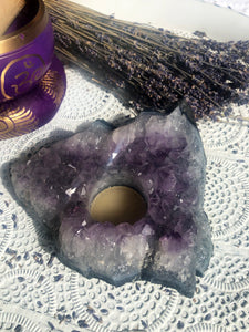Amethyst Cluster Candle Base Rough #6   | Crystal Karma by Trina