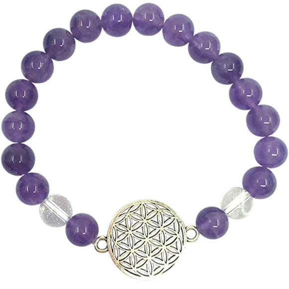 Amethyst & Clear Quartz Stretch Bracelet with Flower of Life Charm | Crystal Karma by Trina