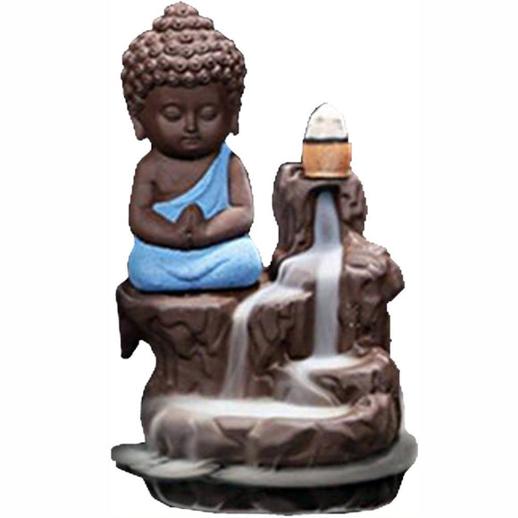 Blue Monk Backflow Incense Cone Burner | Crystal Karma by Trina