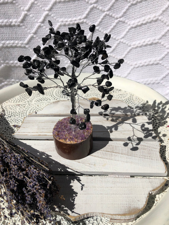 Black Onyx Crystal Gemstone Tree Silver Small - Amethyst Base | Crystal Karma by Trina