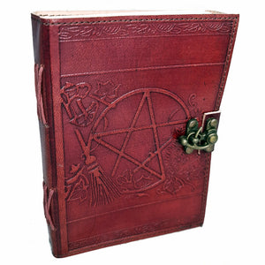Book Of Shadows Leather Journal - Pentacle Broom | Crystal Karma by Trina