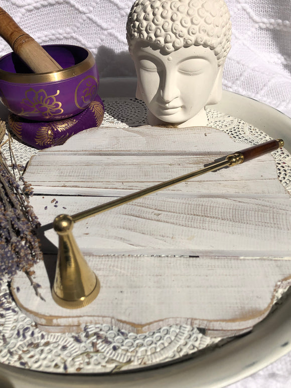 Brass Candle Snuffer Wooden Handle | Crystal Karma By Trina