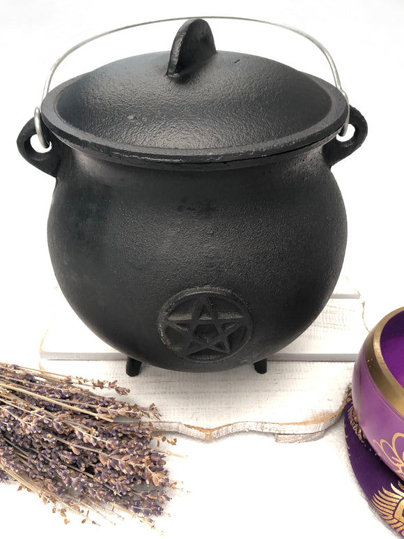 Cauldron - Cast Iron - Pentacle 20cm | Crystal Karma by Trina