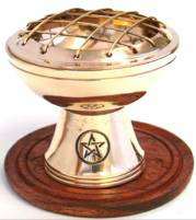 Charcoal Burner Brass Stand with Pentacle on Wooden Base | Crystal Karma by Trina