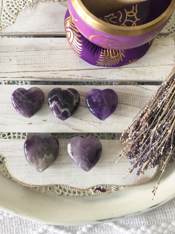 Chevron Amethyst Heart Palm Stones | Crystal Karma by Trina
