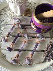 Crystal Facial Rollers - Chevron Amethyst with Rose Gold Plated Trim | Crystal Karma by Trina