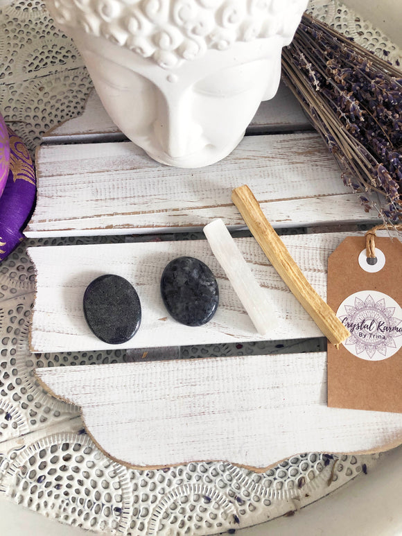 Cleansing Bundle Palo Santo Selenite Hematite Larvakite | Crystal Karma by Trina