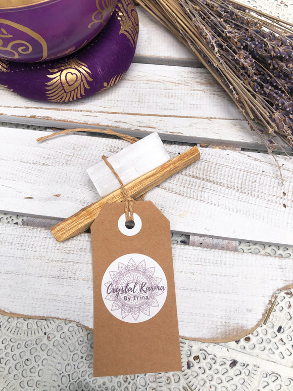 Cleansing Bundle Selenite & Palo Santo - Medium | Crystal Karma by Trina