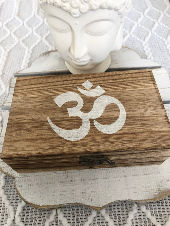 Timber  Box with Hand painted Om Symbol