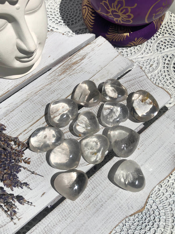 Clear Quartz Palm Stone Hearts Small | Crystal Karma by Trina