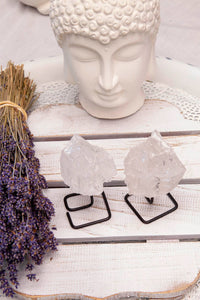Clear Quartz Mineral on Stand | Crystal Karma by Trina